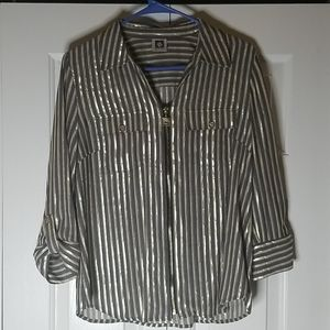 Anne Klein Zip up blouse
